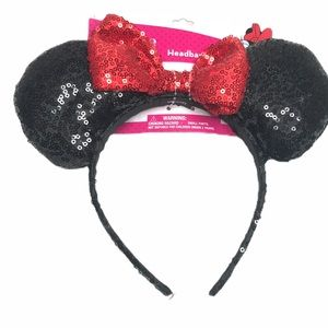 Minnie Mouse Disney Ears with Red Bow, Black